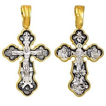 Серебряный крест - Распятие, Покрова Пресвятой Богородицы, Георгий Победоносец, Архангел Михаил и Гавриил (арт. 21112-44)
