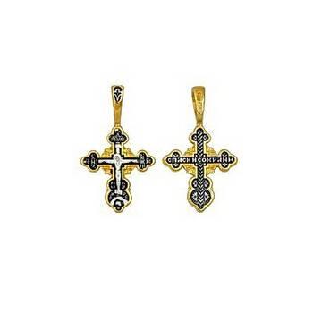 Серебряный крестик женский - Распятие Иисуса Христа с молитвой Спаси и сохрани (арт. 21112-77)