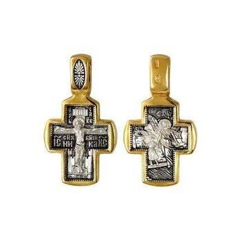 Серебряный крест: Распятие Иисуса Христа, Ангел Хранитель (арт. 21112-80)