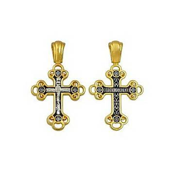 Крестик серебряный женский - Распятие Иисуса Христа с молитвой Спаси и сохрани (арт. 21112-84)