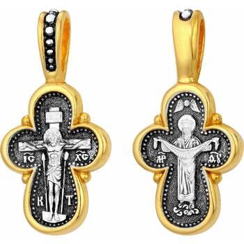 Крест серебряный для ребенка позолоченный «Распятие Иисуса Христа, икона Покрова Пресвятой Богородицы» (арт. 21112-9)