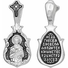 Серебряная нательная икона (образок) Пантелеймон Целитель с молитвой (арт. 21211-18)