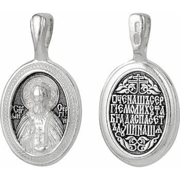 Нательная иконка с образом Сергий Радонежский с молитвой (арт. 21211-26)