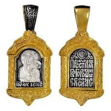 Кулон серебряный Казанская икона Божьей Матери с молитвой (арт. 21212-42)