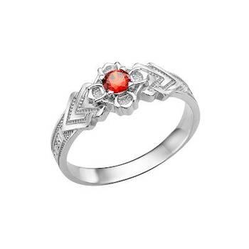 Серебряное кольцо с молитвой «Спаси и сохрани» и фианитом (арт. 11101-10)
