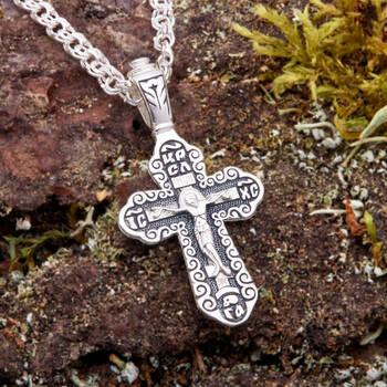 Нательный крест с молитвой Спаси и сохрани (арт. 21111-133)