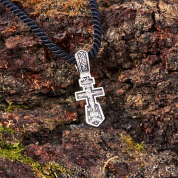 Нательный восьмиконечный крестик - Распятие Иисуса христа с молитвой ко Кресту (арт. 21111-61)