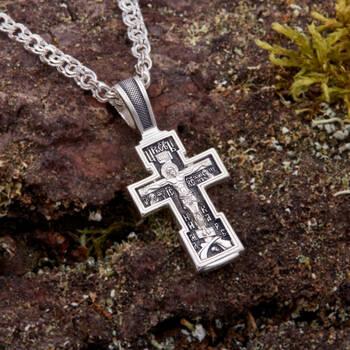 Нательный крестик православный восьмиконечный из серебра «Распятие Иисуса христа с молитвой ко Кресту» (арт. 21111-75)