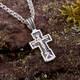 Нательный крестик православный восьмиконечный из серебра: Распятие Иисуса христа с молитвой ко Кресту (арт. 21111-75)