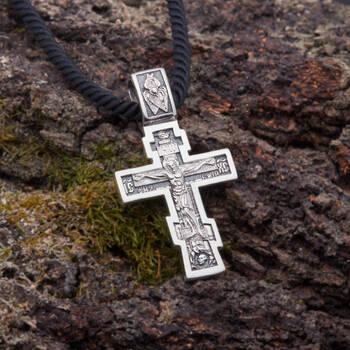 Серебряный крест - Распятие Иисуса христа с молитвой ко Кресту (арт. 21111-87)
