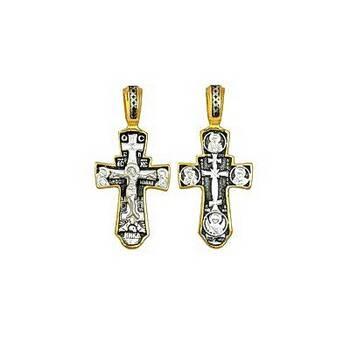 Серебряный крест: Распятие Иисуса Христа, Николай Чудотворец, Архангел Михаил (арт. 21112-119)