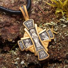 Серебряный крест - Господь Вседержитель, Сергий Радонежский (арт. 21112-217)