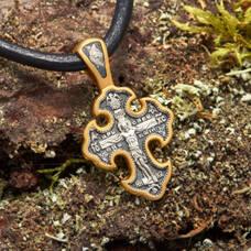 Серебряный крест - Распятие Иисуса Христа с молитвой Спаси и сохрани (арт. 21112-226)