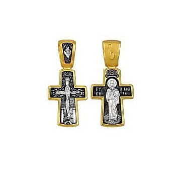 Серебряный крестик: Распятие Иисуса Христа, святитель Николай (арт. 21112-4)