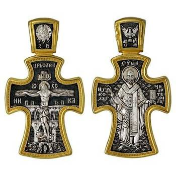 Крест мужской нательный (серебряный с позолотой): Распятие Иисуса Христа, Николай Чудотворец (арт. 21112-78)