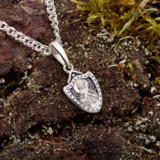 Нательный образок Семистрельная Божья Матерь (Умягчение злых сердец) с молитвой из серебра с чернением (арт. 21211-62)