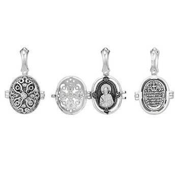 Ладанка серебряная икона Николай Чудотворец с молитвой (арт. 21311-22)
