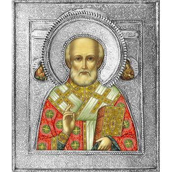 Икона Николай чудотворец Мирликийский в ризе (арт. 12240104)