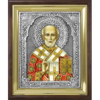 Икона Николай чудотворец Мирликийский в ризе и деревянном киоте (арт. 12240108)