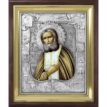 Икона Серафим Саровский в ризе и деревянном киоте (арт. 12240113)