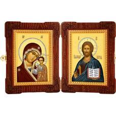 Икона венчальная пара (складень) - Спаситель, Казанская икона Божией Матери (арт. 12240123)
