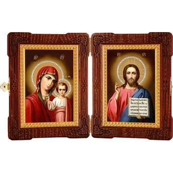 Икона венчальная пара (складень) - Спаситель, Казанская икона Божией Матери (арт. 12240124)