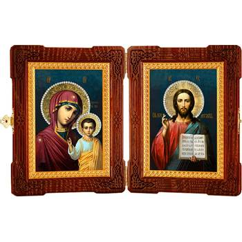 Икона венчальная пара (складень) - Спаситель, Казанская икона Божией Матери (арт. 12240125)