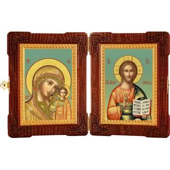 Икона венчальная пара (складень) - Спаситель, Казанская икона Божией Матери (арт. 12240126)