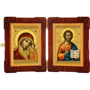 Икона венчальная пара (складень) - Спаситель, Казанская икона Божией Матери (арт. 12240127)