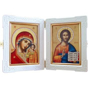 Икона венчальная пара (складень) - Спаситель, Казанская икона Божией Матери (арт. 12240128)