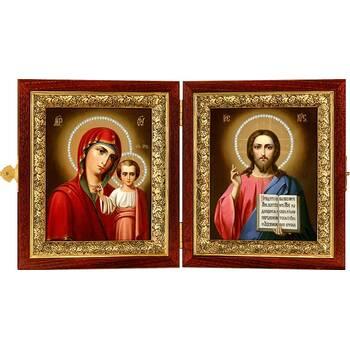 Икона венчальная пара (складень) - Спаситель, Казанская икона Божией Матери (арт. 12240130)