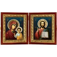 Икона венчальная пара (складень) - Спаситель, Казанская икона Божией Матери (арт. 12240131)