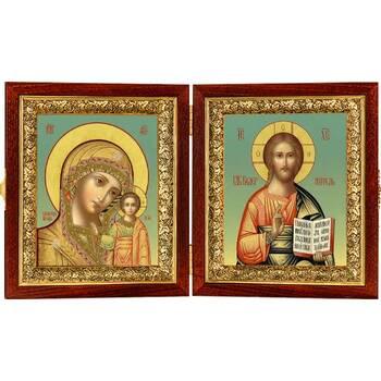 Икона венчальная пара (складень) - Спаситель, Казанская икона Божией Матери (арт. 12240132)