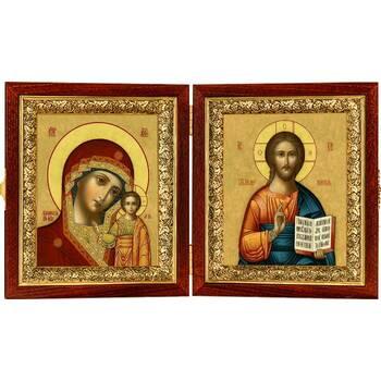 Икона венчальная пара (складень) - Спаситель, Казанская икона Божией Матери (арт. 12240133)