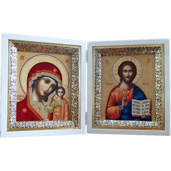 Икона венчальная пара (складень) - Спаситель, Казанская икона Божией Матери (арт. 12240134)