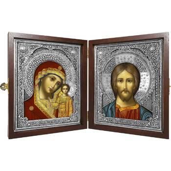 Икона венчальная пара (складень) - Спаситель, Казанская икона Божией Матери в ризе (арт. 12240135)