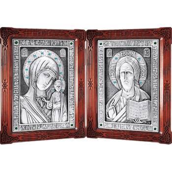 Икона венчальная пара (складень) - Спаситель, Казанская икона Божией Матери в серебре (арт. 12240136)