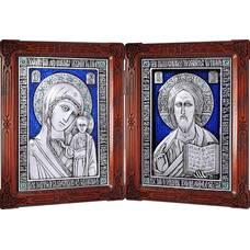 Икона венчальная пара (складень) - Спаситель, Казанская икона Божией Матери в серебре с эмалью 12240137