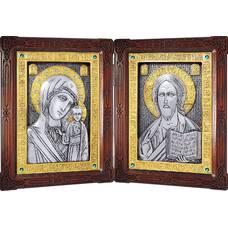 Икона венчальная пара (складень) - Спаситель, Владимирская икона Божией Матери в серебре с позолотой (арт. 12240138)