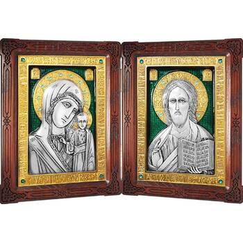 Икона венчальная пара (складень) - Спаситель, Казанская икона Божией Матери в серебре с эмалью (арт. 12240139)