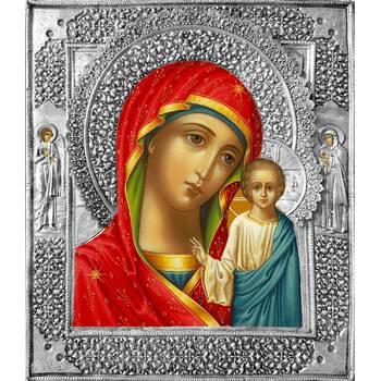 Казанская икона Божией матери с предстоящими в ризе (арт. 1224014)