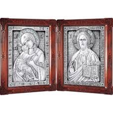 Икона венчальная пара (складень) - Спаситель, Владимирская икона Божией Матери в серебре (арт. 12240140)