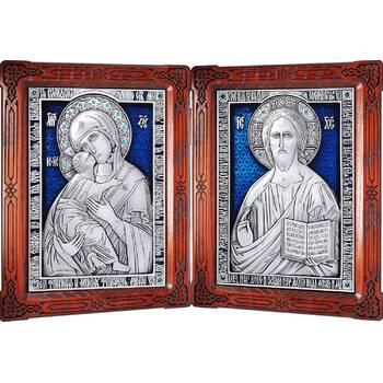 Икона венчальная пара (складень) - Спаситель, Владимирская икона Божией Матери в серебре с эмалью (арт. 12240141)