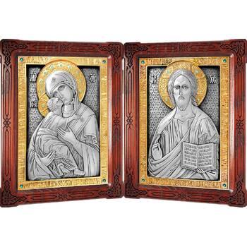 Икона венчальная пара (складень) - Спаситель, Владимирская икона Божией Матери в серебре с позолотой (арт. 12240142)