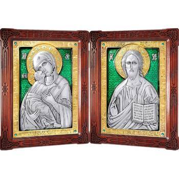 Икона венчальная пара (складень) - Спаситель, Владимирская икона Божией Матери в серебре с эмалью (арт. 12240143)