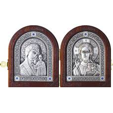 Икона венчальная пара (складень) - Спаситель, Казанская икона Божией Матери в серебре 12240144