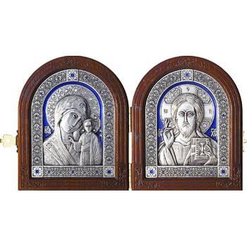 Икона венчальная пара (складень) - Спаситель, Казанская икона Божией Матери в серебре и эмалью (арт. 12240145)