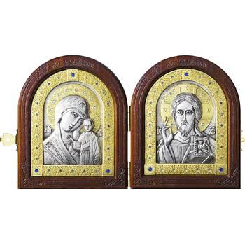 Икона венчальная пара (складень) - Спаситель, Казанская икона Божией Матери в серебре с позолотой (арт. 12240146)