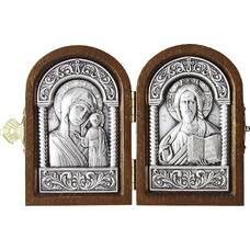 Икона венчальная пара (складень) - Спаситель, Казанская икона Божией Матери в серебре (арт. 12240148)