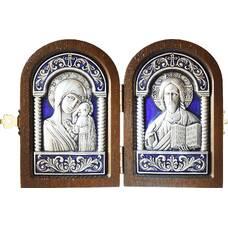 Икона венчальная пара (складень) - Спаситель, Казанская икона Божией Матери в серебре с эмалью (арт. 12240149)